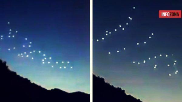 Satélites en fila en el cielo