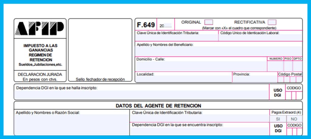 Cómo completar el formulario 649 AFIP