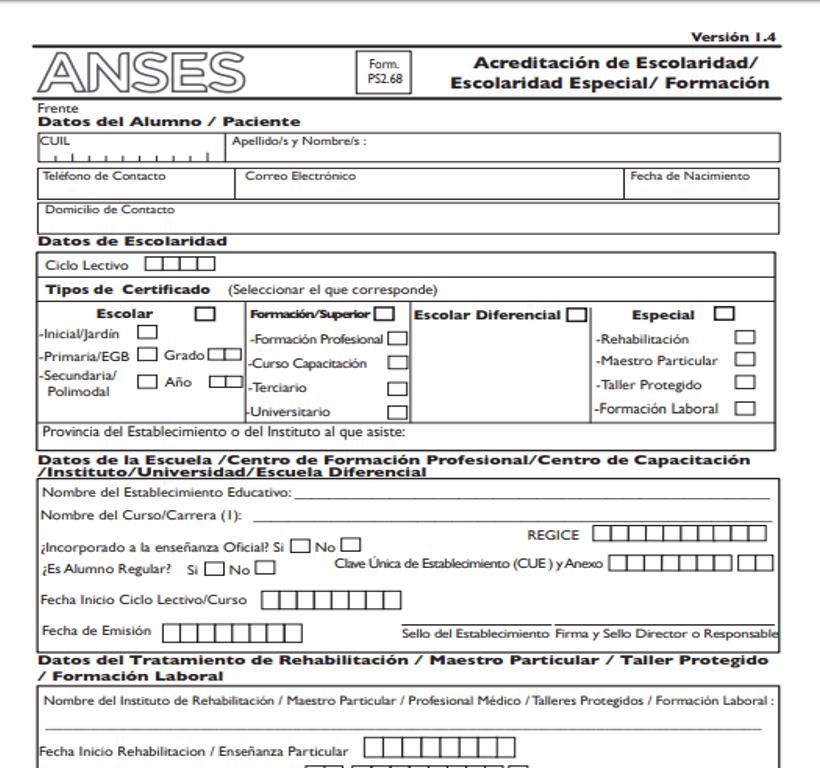 Cómo completar el formulario de Anses 2.68