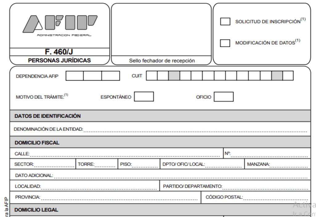 Cómo completar formulario 460 AFIP Online
