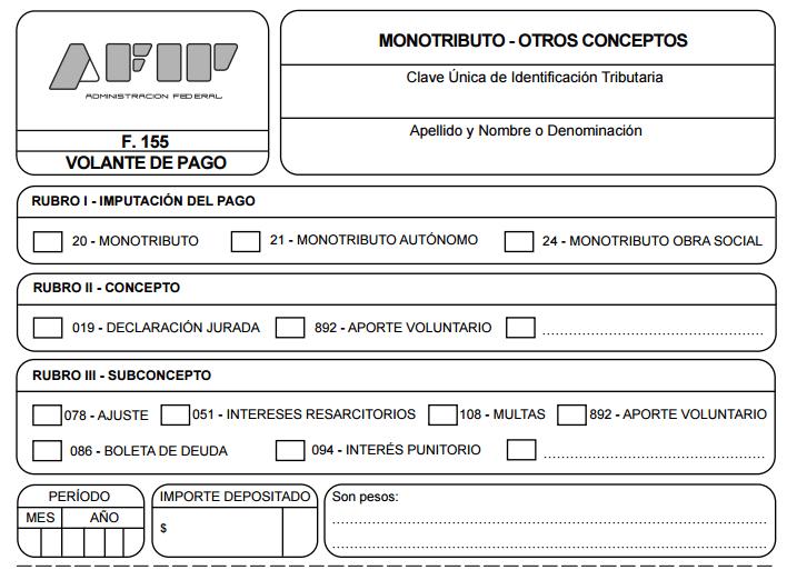 Cómo completar el formulario 155 de AFIP