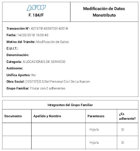 Cómo completar el formulario 184 de AFIP