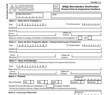 Cómo llenar el formulario 2.55 de ANSES prenatal