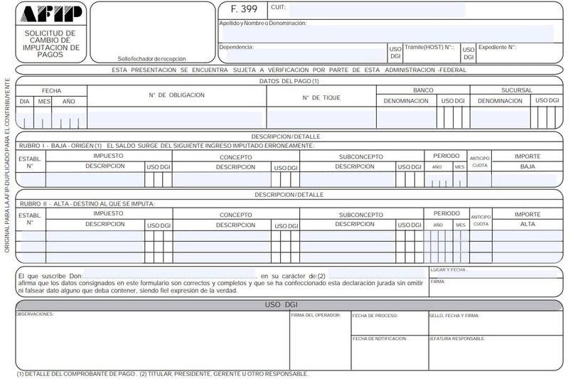 Cómo llenar formulario 399 AFIP