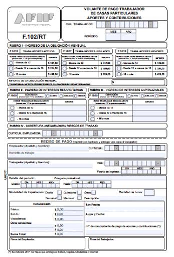 Cómo se completa el formulario 102 personal doméstico