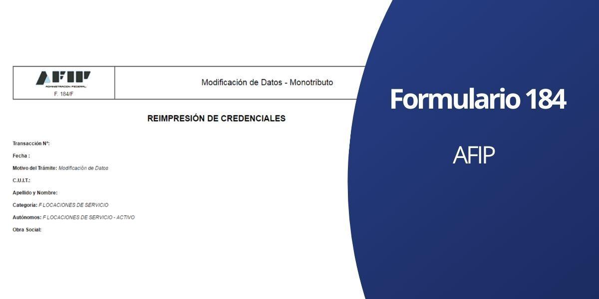 Formulario 184 AFIP