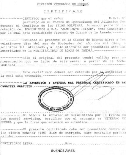 Cómo solicitud de certificado de veterano de guerra de Malvinas?